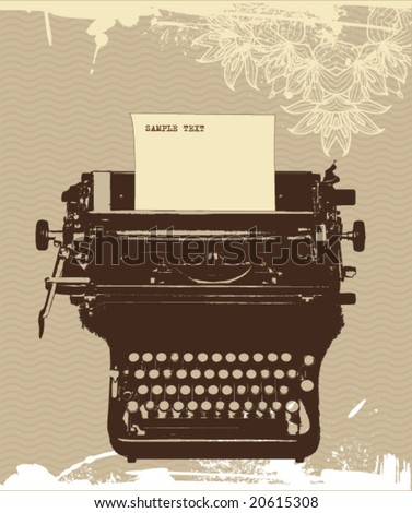 grunge typewriter, vector design - stock vector