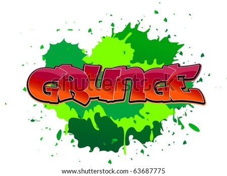 Grunge urban graffiti design on blobs background. Jpeg version also available in gallery - stock vector