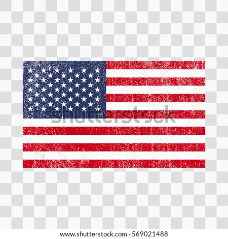 Grunge USA Flag American With Distress TextureVector Template On Transparent Background