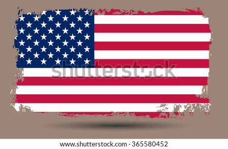 Grunge USA flag.American flag with grunge texture. - stock vector