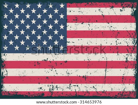 Grunge USA flag.Old vector American flag. - stock vector