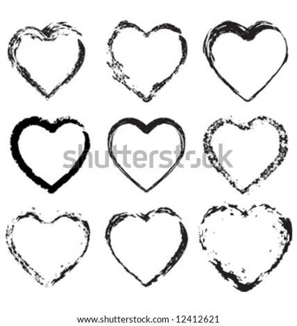 Grunge valentine hearts - stock vector