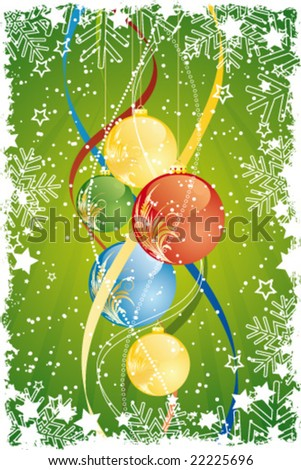 Grunge Vector Abstract Background with Christmas balls and decoration