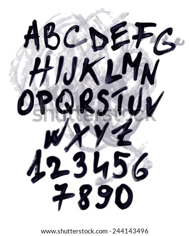 Grunge vector alphabet with numbers. Each element is grouped separately. - stock vector