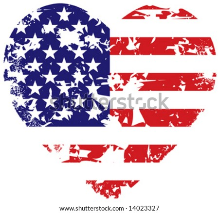 Grunge vector american flag heart background - stock vector