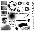 Grunge vector collection brushes blots points  wings  butterflies skull circle brushes. - stock