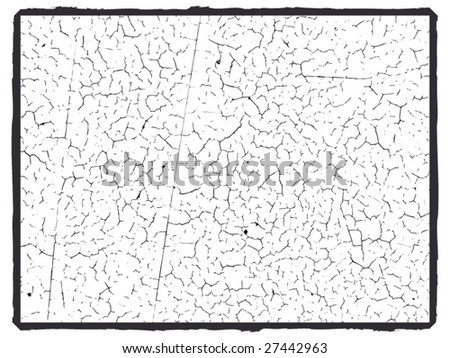 Grunge vector cracked paint texture can also be used as a frame - stock vector