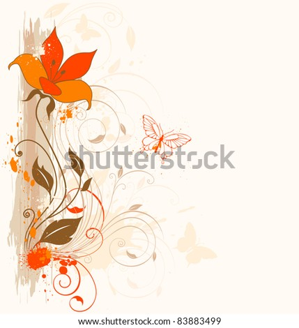 Grunge vector floral background with ornament and orange flower
