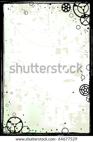 Grunge vector frame with gears