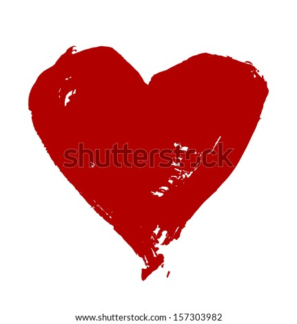 Grunge vector hand drawn heart - stock vector