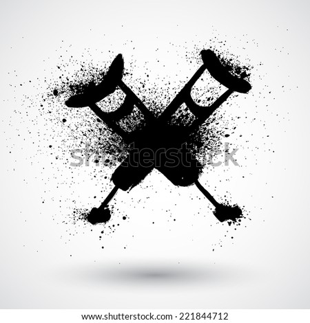 Grunge vector illustration of black crutches silhouette - stock vector