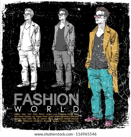 Grunge vector illustration of stylish dude on black background. - stock vector