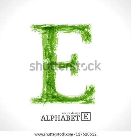 Grunge Vector Letter. Green Eco Style. Font Symbol E. - stock vector