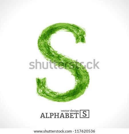 Grunge Vector Letter. Green Eco Style. Font Symbol S. - stock vector