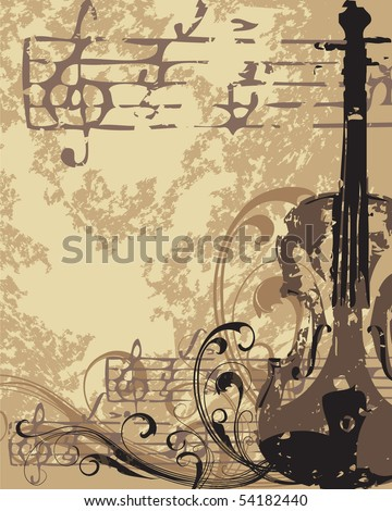 Grunge vector musical background - stock vector