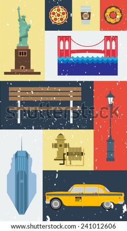 Grunge vector New York city street icon set. A set of New York symbols and landmarks. - stock vector