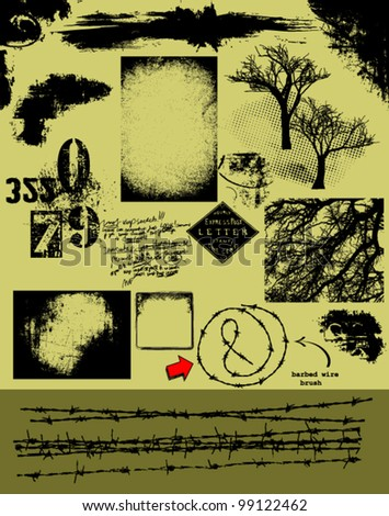 Grunge Vector Pack_ barbed wire brush, backgrounds, overlays, textures, trees, corners and other grunge design elements for graphic artists and designers - stock vector