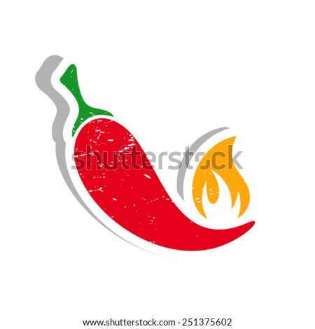 Grunge vector red hot chilli pepper label isolated - stock vector