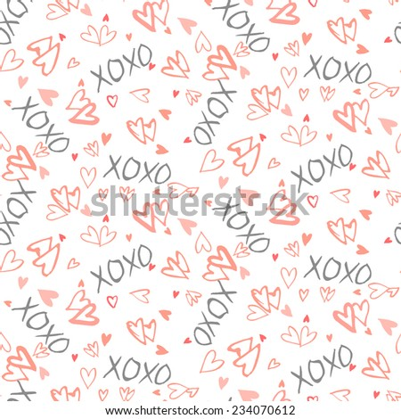 Grunge vector seamless pattern with hand painted hearts and words xoxo. Bright fun ditsy print for valentines day wrapping paper decor or wedding invitation card background - stock vector
