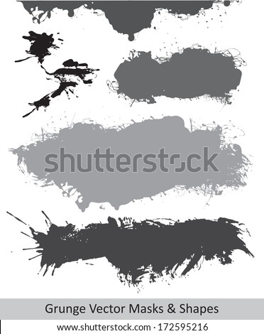 Grunge Vector Shapes, Banner and Masks. - stock vector