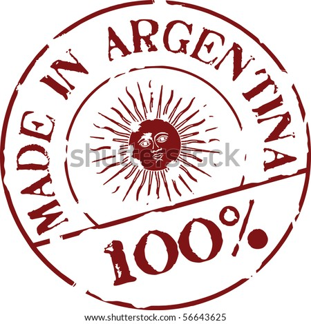 Grunge vector stamp with words Made in Argentina 100% - stock vector