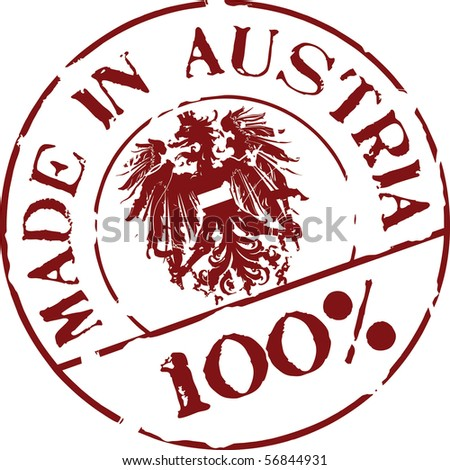 Grunge vector stamp with words Made in Austria 100%