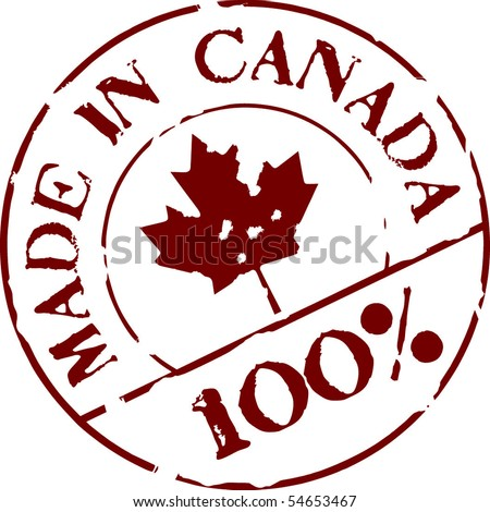 Grunge vector stamp with words Made in Canada 100% - stock vector