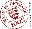 Grunge vector stamp with words Made in Denmark 100% - stock vector