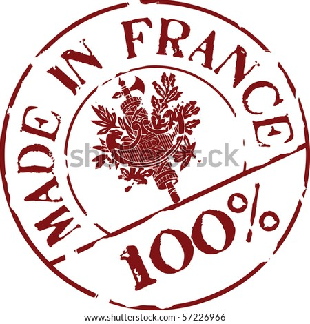 Grunge vector stamp with words Made in France 100% - stock vector