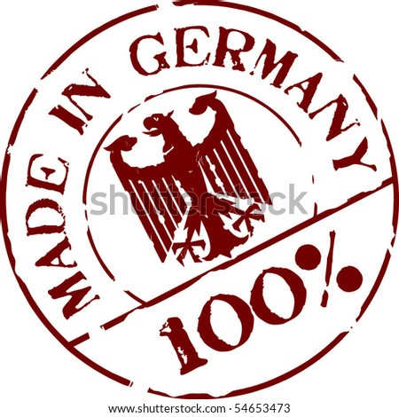 Grunge vector stamp with words Made in Germany 100% - stock vector