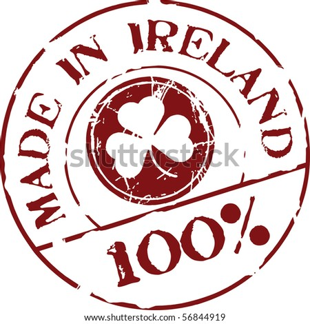 Grunge vector stamp with words Made in Ireland 100% - stock vector