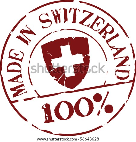 Grunge vector stamp with words Made in Switzerland 100%
