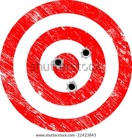 Grunge Vector Target with Bullet Holes - stock vector