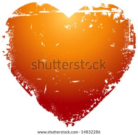 Grunge vector valentine heart - stock vector