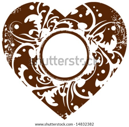 Grunge vector valentine heart frame background