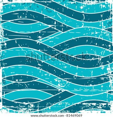 Grunge vector wave background - stock vector