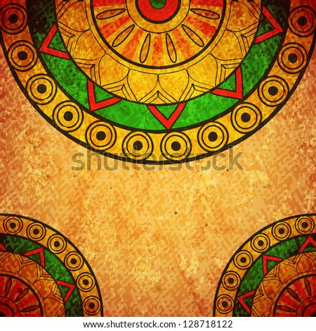 Grunge vintage design with ethnic elements - stock vector
