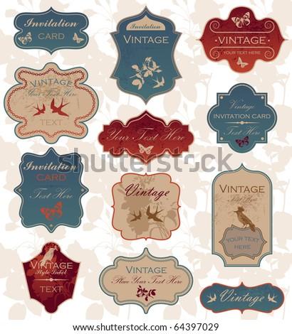 Grunge vintage label set - stock vector