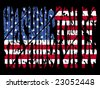 grunge Washington DC text with American flag illustration - stock vector