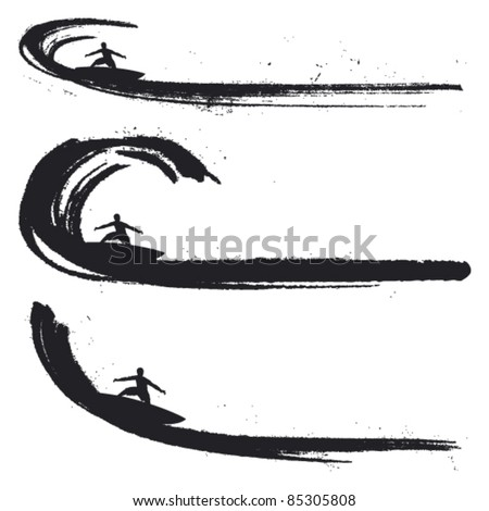 grunge waves with surf riders - stock vector