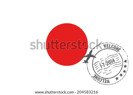 Grunge welcome rubber stamp with date on the flag of Japan - stock vector