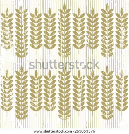 grunge wheat seamless pattern on white - stock vector