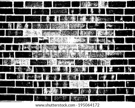 Grunge white and black brick wall background - stock vector