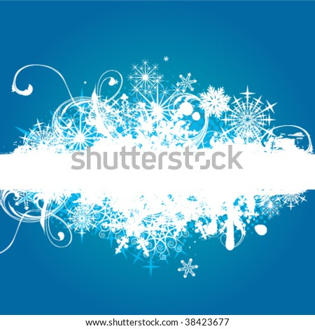 Grunge winter border - stock vector
