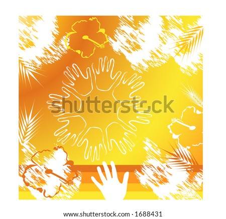 grunge with hands in circle - stock vector
