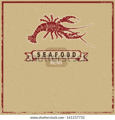 grunge woodcut seafood menu cover - stock vector