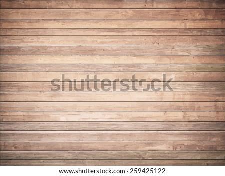 Grunge wooden texture with horizontal planks. Vector floor surface - stock vector