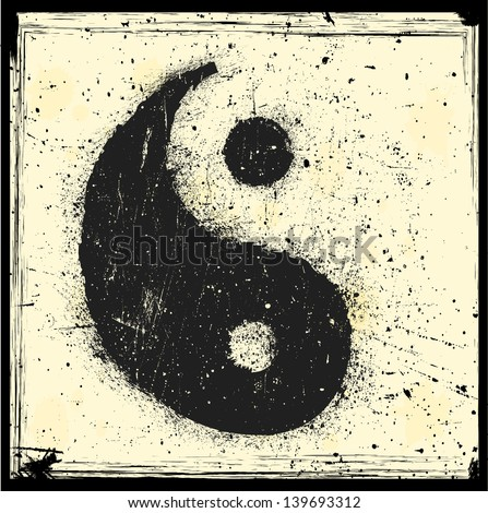 Grunge Yin yang symbol - stock vector