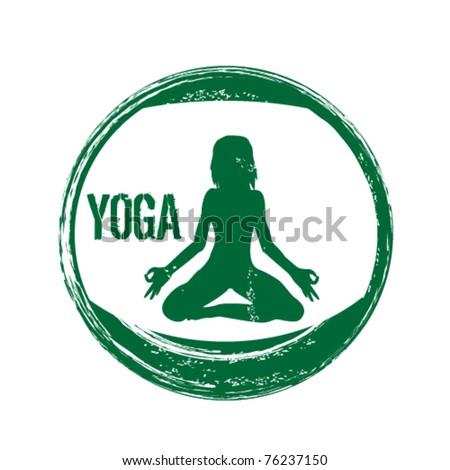 grunge yoga stamp - stock vector