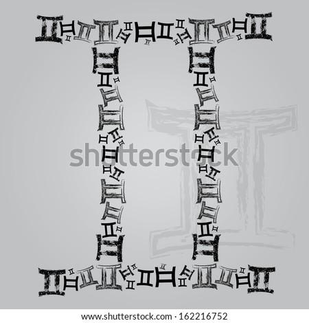 Grunge zodiac sign Gemini - stock vector